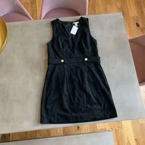 Black faux suede mini dress with gold buttons